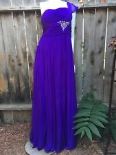 TERANI COUTURE Womens Dress Size 18 100% Silk One Shoulder Purple Embellished