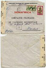 FRENCH SAHARA WW2 BRITISH CENSOR 1944 SENAFRICA ENV + R BOXED...20F + 3F50
