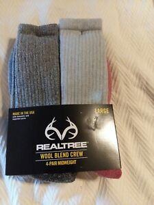 Boot Socks Wool Blend Crew Realtree 4 Pair Pack Men Women Large Odor Protection