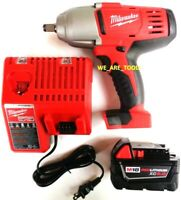 """Milwaukee M18 2663-20 1/2"""" Impact Wrench, (1) 48-11-1850 5.0 Battery,  Charger"""