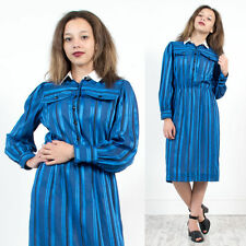 WOMENS VINTAGE 80'S BLUE SHEER MIDI LENGTH TEA DAY DRESS CONTRAST COLLAR 10