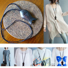 All-match Retro Peach Carving Fish Pendant Cotton Shirt Necklace Sweater Chain