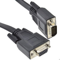 Flat 15 Pin VGA Cable Male Plug to Female Socket Extension Cable 3m