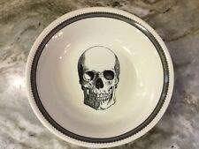 Large Serving Bowl Skull Lace. Ivory And Black. Spooky. New.
