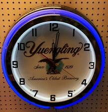 """18"""" YUENGLING Beer Sign Since 1829 Double Neon Wall Clock"""