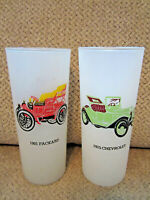 Vintage set of 2 frosted 1901 Packard & 1915 Chevrolet tall drinking glasses