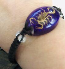 Real Scorpion Cord Bracelet Real Scorpion Purple Globe Adjustable Bracelet J8890