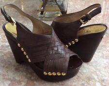 d0eedb0d4e7 Michael Kors Women s Harlow Brown Leather Gold Studs Wedge Sandals Size  5.5M EUC