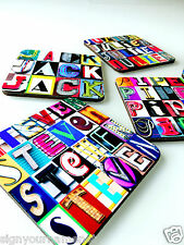 Personalized Coasters Featuring Any Name in Letters from Photos of Signs - 4