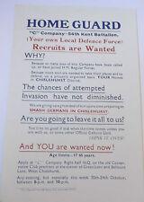 c company 54th kent battalion home guard leaflet   smash germans in chislehurst
