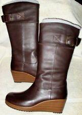 """NIB *CROCS*  """"A-LEIGH""""  Leather, Espresso Brown/Walnut, 2 1/4"""" Wedge Heel, 6 M"""