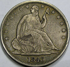 1843 Seated Liberty Half Dollar Super Choice AU... 100% Original & So Very NICE!