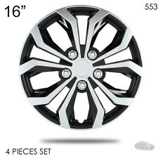 "NEW 16"" ABS SILVER RIM LUG STEEL WHEEL HUBCAPS COVER 553 FOR NISSAN"
