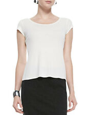 NEW Eileen Fisher White Cap Sleeve Silk Tee Top- Soft white PM