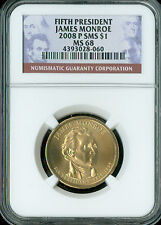 2008-P JAMES MONROE PRES. DOLLAR NGC MS68 SMS 2ND FINEST GRADE SPOTLESS .