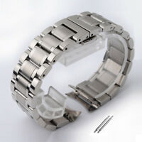 Curved Stainless Steel Watch Band Strap Clasp Solid Links Replacement 14-24mm