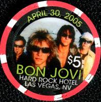 $5 Las Vegas Hard Rock BON JOVI Casino Chip - Uncirculated