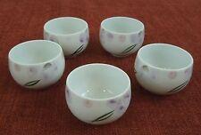 5 SAKE OR TEA CUPS ARITA JAPAN 5 OZ PINK PURPLE GREEN COLORS NO HANDLE