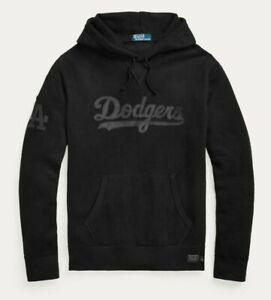 Polo Ralph Lauren Los Angeles LA Dodgers MLB Black Ltd Ed Leather Hoodie Sweater