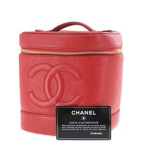 CHANEL CC Vanity Cosmetic Bag Caviar Skin Red Leather Vintage Authentic #Z621 O