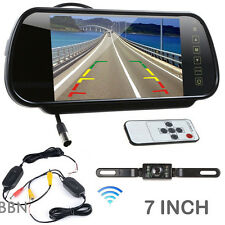 7inch LCD Screen Car Rear View Backup Mirror Monitor+Wireless Reverse Camera IR