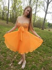 Video!  Orange Sequin Sweetheart Strapless Chiffon Knee Length Formal Dress M 6
