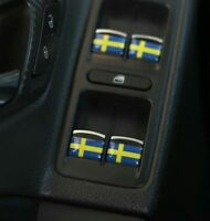 Sweden Flag x4 Stickers Badge Logo 3D Dome Interior Emblem For SAAB VOLVO SCANIA