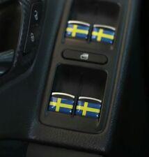 Sweden Flag x4 Stickers Badge Logo 3D Dome Interior Emblem For SAAB VOLVO SCANIA