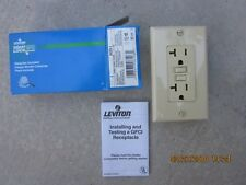 Leviton 8899-I   20A 125V IVORY Smart Lock GFCI Receptacle w/ Wallplate NEW