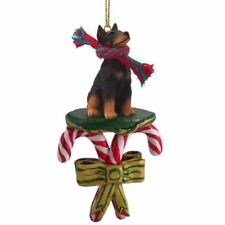 Doberman Pinscher Black Cropped Ears Dog Candy Cane Christmas Tree Ornament