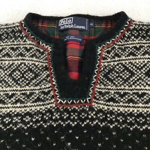 Vntg POLO Ralph Lauren Norwegian Icelandic Fair-isle Nordic Ski Sweater XL Wool