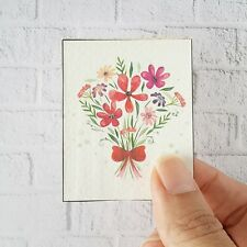 Handmade Wood Flower Picture Dollhouse Miniature Barbie House Accessory Decor