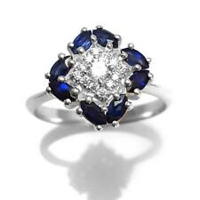 3Ct Marquise Cut Sapphire Syn Diamond Floral Art Deco Ring White Gold Fns Silver