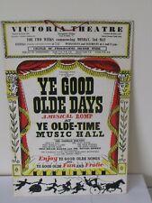 More details for vintage victoria theatre salford poster  ye good olde days george bolton