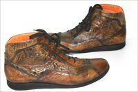 EMMANUEL KHANH  Boots à Lacets Cuir Marron Nuancé Marbré T 44 TTBE