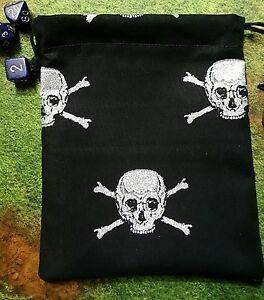 Glitter Skull and Crossbones dice bag, card bag, makeup bag, small gift bag