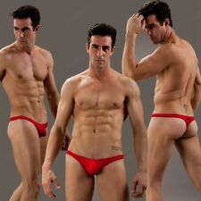 Men's Sexy Mesh G-string Thongs Underwear Red Breathable T-back for Men Size L