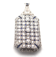 Jackie Collin's Estate Platinum14.5Ct VVS1 F-G Diamond Art Deco Necklace Brooch
