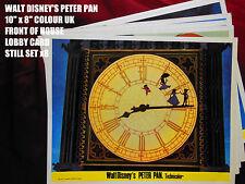 "RARE VINTAGE 10""x8"" UK COLOUR FOH LOBBY CARD STILL SET(x8) - DISNEY'S PETER PAN"