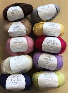 4 x 50g Yarn Stories Fine Merino Double Knit Wool for Knitting/Crochet
