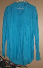 Vintage 1980's Rayon Turquoise Colored Neckloop Shirt By Iou - L !