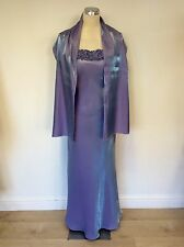 TAILOR MADE PALE BLUE/ LILAC STRAPPY EVENING DRESS & WRAP SIZE 12