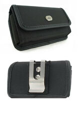 Canvas Pouch Belt Holster w Clip for ZTE ZMax Pro Z981 (Fits with Rubber Case)