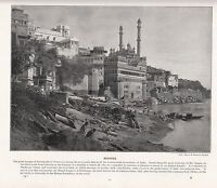 1897 Vittoriano Stampa ~ Eccezionale Moschea Di Aurungzebe A Benares India ~