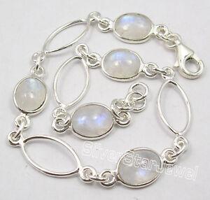 "925 Sterling Silver Original RAINBOW MOONSTONE 5 Gem EXTRA ORDINARY Bracelet 8"""