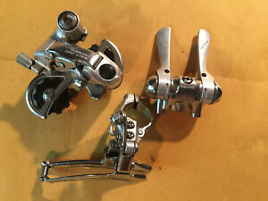 Shimano light action road bike group w/ friction stem shifter, front and rear de