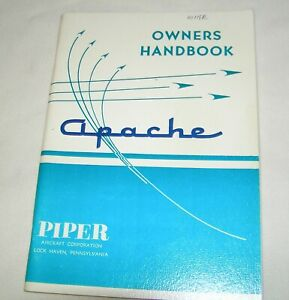 1957 Piper Apache Model PA-23 (Rev 1967) Vintage Owners Manual New Lower Price