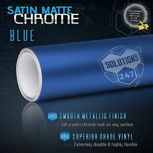 "60""x72"" Inch Blue Satin Matte Chrome Metallic Vinyl Wrap Sticker Air Bubble Free"
