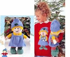 Children's DK Holly Sweater and Matching Doll Vintage Christmas Knitting Pattern