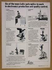 1977 Leitz SM-PQC Ortholux TV Metalloplan Linnick Microscopes vintage print Ad